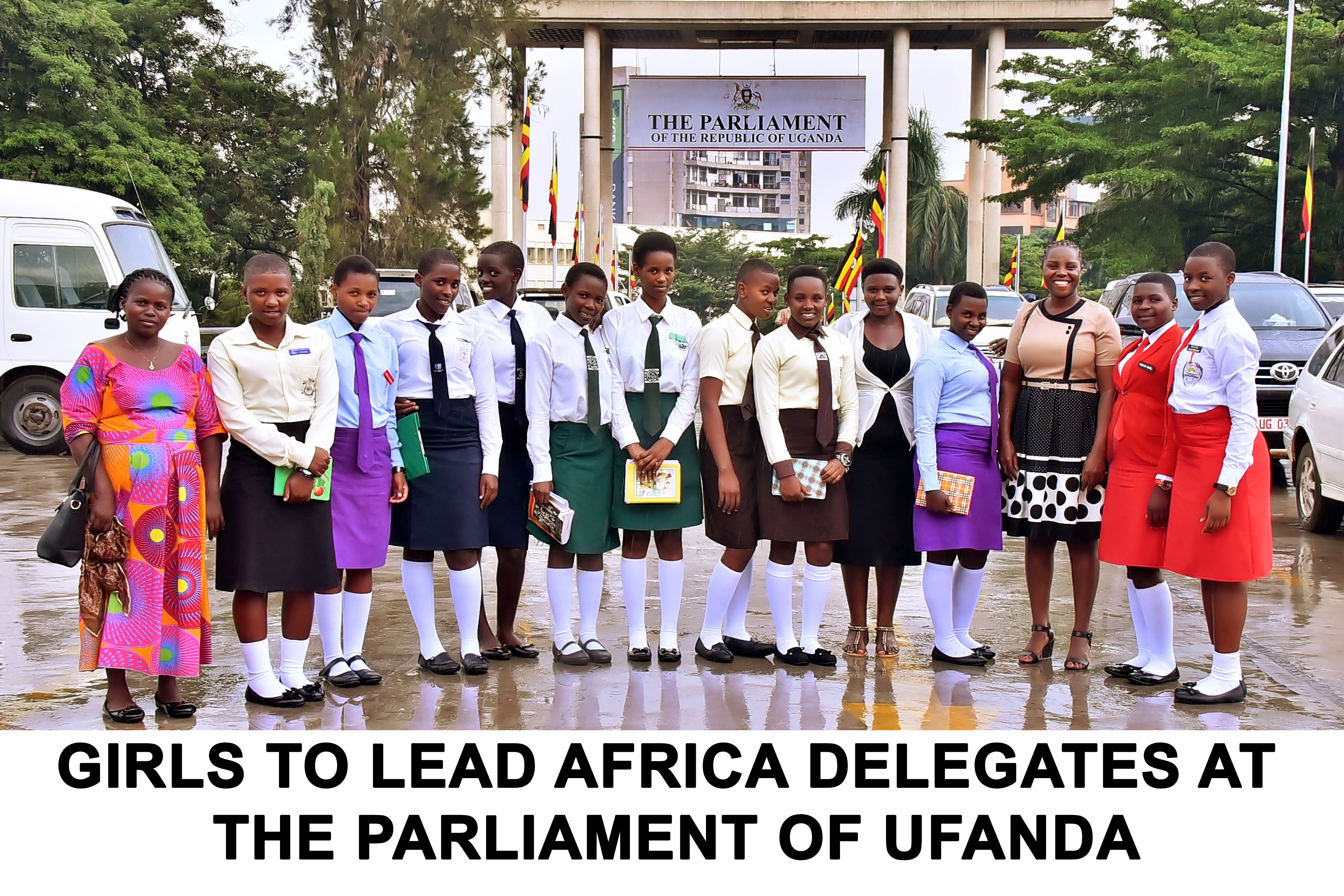 Girls to Lead Africa Founder Kansiime and Staff with GTLA Delegates at the parliament of Uganda